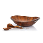 Nambe Braid Chrome Plate and Wood Salad Bowl with Servers