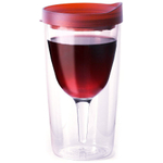 Vino2Go 10 Ounce Insulated Wine Tumbler With Merlot Red Drink Through Lid, Set of 4