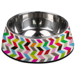 French Bull Ziggy White and Stainless Steel 23.6 Ounce Pet Bowl