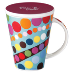 French Bull V Bindi Porcelain 16 Ounce Tea and Coffee Mug with Lid