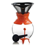 Bodum Pour Over Orange 34 Ounce Coffee Maker with Permanent Filter