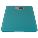 Escali Peacock Blue Glass Platform Digital Bathroom Scale