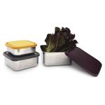 U Konserve 3 Piece Square Nesting Food Container Set with Eggplant Trio Lids