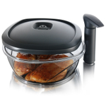 Tomorrow's Kitchen Black 2.6 Quart Large Instant Marinating Container with Pump