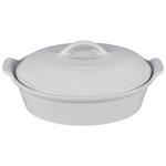 Le Creuset Heritage White Enameled Stoneware 2.5 Quart Covered Oval Casserole