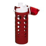 Artland 247 Glass 20 Ounce Hydration Bottle with Red Silicone Sleeve