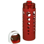 Artland 365 Hydration 20 Ounce Water Bottle with Red Silicone Sleeve and Screw Cap