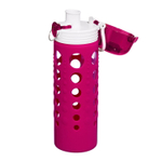 Artland 247 Glass 20 Ounce Hydration Bottle with Berry Silicone Sleeve