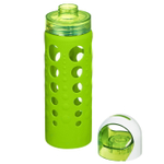 Artland 365 Hydration 20 Ounce Water Bottle with Green Silicone Sleeve and Screw Cap