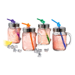 Artland Oasis Glass 16 Ounce Mason Jar with Lid and Bendy Straw, Set of 4