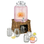 Artland Garden Terrace 3 Gallon Infusing Beverage Dispenser Jar Set with Seagrass Stand
