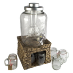 Artland Oasis 3 Gallon Infusing Beverage Dispenser Jar Set with Faux Wicker Stand