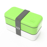 Monbento MB Original V Green and White Bento Box