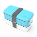 Monbento MB Original V Light Blue and White Bento Box