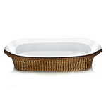 The French Chefs Porcelain White Medium Roaster with Rattan Holder
