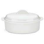 The French Chefs Porcelain White 10.5 Inch Oval Covered Casserole