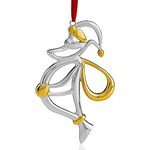 Nambe Holiday Silver Plate with Gold Accent Santa Ornament