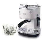DeLonghi Icona Pump White Espresso Maker with Free Set of 6 Italian Espresso Shot Glasses