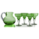Artland Iris Seeded Green 5 Piece Hand Blown Glass 2.8 Quart Pitcher and Margarita Glass Set
