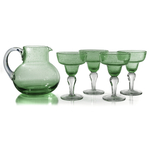 Artland Iris Seeded Light Green 5 Piece Hand Blown Glass 2.8 Quart Pitcher and Margarita Glass Set