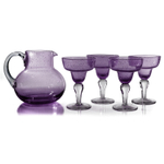 Artland Iris Seeded Plum 5 Piece Hand Blown Glass 2.8 Quart Pitcher and Margarita Glass Set