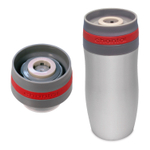 Chantal Single Serve Easy Stainless Steel Vacuum Insulated 10 Ounce Travel Mug with Chili Red Silicone Band