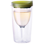Vino2Go 10 Ounce Insulated Wine Tumbler With Verde Green Drink Through Lid, Set of 4