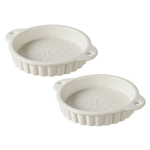Revol Les Naturels Cream Porcelain 5 Ounce Tartlet Pan, Set of 2