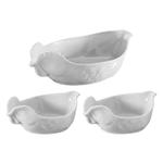 Revol Happy Cuisine White Porcelain 3 Piece Poultry Roaster and Side Dish Set