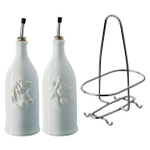 Revol Provence White Porcelain Olive Oil & Vinegar Set with Carry Caddy