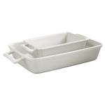 HIC Harold Import Co White Porcelain 2 Piece Lasagna Pan Set
