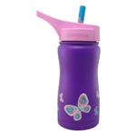 Eco Vessel Frost Kids TriMax Triple Insulated Purple with Butterfly Design Stainless Steel 13 Ounce Bottle with Straw Top