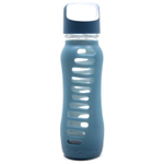 Eco Vessel Surf Glass 22 Ounce Water Bottle with Storm Blue Silicone Sleeve and Screw Lid