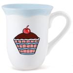 Omniware Earthenware Ruffles Cupcake Mug, Set of 4
