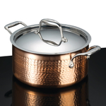 Lagostina Martellata Tri-Ply Hammered Copper 5 Quart Covered Stewpot