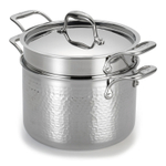 Lagostina Martellata Tri-Ply Hammered Stainless Steel 6 Quart Covered Stockpot Pastaiola Set with Pasta Insert