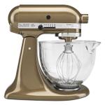 KitchenAid KSM155GBTF Artisan Design Series Toffee 5 Quart Tilt-Head Stand Mixer with Glass Bowl