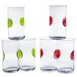 Bormioli Rocco Giove Green and Red 6 Piece 16.75 Ounce Cooler Glass Set