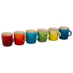 Le Creuset 6 Piece Colorful Stoneware 3.5 Ounce Petite Espresso Mug Set, Rainbow Assortment Colors