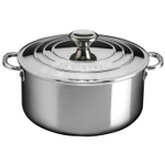 Le Creuset Stainless Steel 5.5 Quart Shallow Casserole with Lid