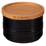 Le Creuset Black Stoneware 12 Ounce Canister with Wooden Lid