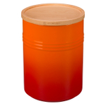 Le Creuset Flame Stoneware 22 Ounce Canister with Wooden Lid