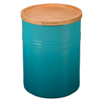 Le Creuset Caribbean Stoneware 22 Ounce Canister with Wooden Lid
