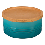Le Creuset Caribbean Stoneware 23 Ounce Canister with Wooden Lid