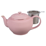 Le Creuset Hibiscus Stoneware 1 Quart Teapot with Stainless Steel Infuser