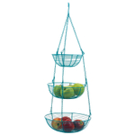 RSVP Turquoise 3-Tier Hanging Fruit and Vegetable Basket