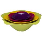 Zak Designs Multi-Colored Rose-Shaped 4 Piece Serving Bowl Set