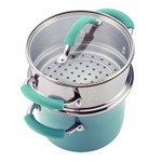 Rachael Ray Cucina Agave Blue Hard Enamel 3 Quart Multi-Pot Set with Steamer Insert