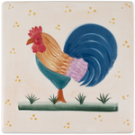 Rooster Square Stoneware Trivet Hot Plate