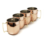 Moscow Mule Polished Copper 16 Ounce Drinking Mug, Set of 4